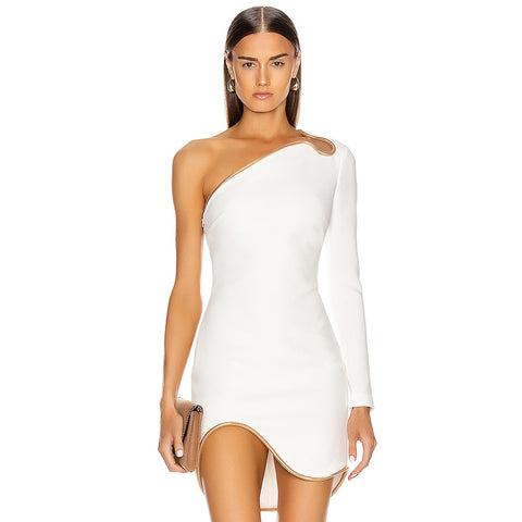 Winter White One Shoulder Long Sleeve Bodycon Mini Party Bandage Dress