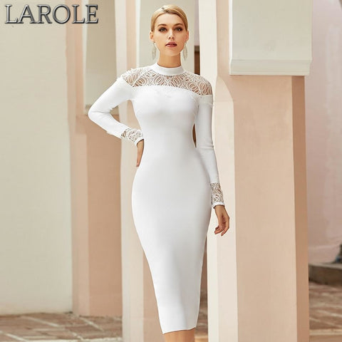 Lace White Long Sleeve Hollow Out  Evening Cocktail Dresses
