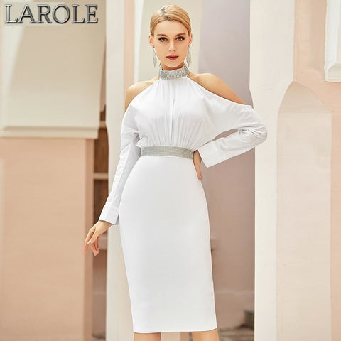 White Off Shoulder Halter Sexy Long Sleeve Backless Midi Dress