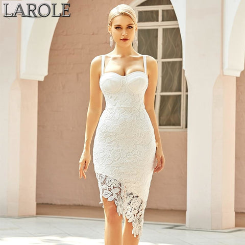 New Summer Women Spaghetti Strap White Lace Club Party Bandage Evening Dresses