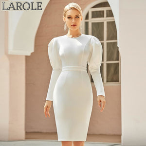 White Long Puff Sleeve Space Cotton Hot Party Dress