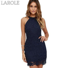 Load image into Gallery viewer, Berydress Short Lace  Elegant Party With Halter Neck,  Sleeveless Navy Blue Dress - More Colors Are Available