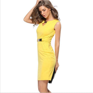 V-neck solid vestidos knee-length yellow  mini dress  - More Colors Are Available
