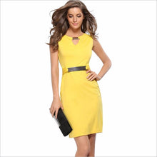 Load image into Gallery viewer, V-neck solid vestidos knee-length yellow  mini dress  - More Colors Are Available