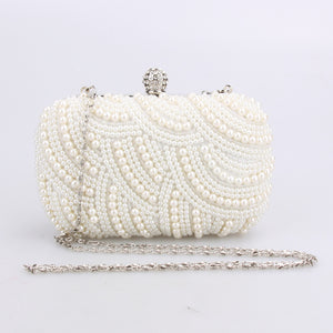 Fashion Luxury Crystal Pearl White Evening Clutch Bags