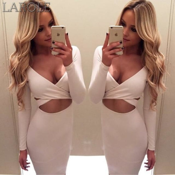 Long Sleeve Elastic Cotton Warm Party Bodycon Dresses- More color option