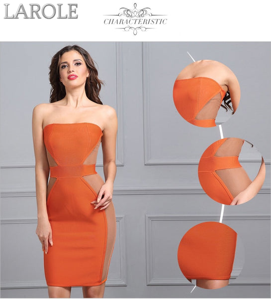 Knee-Length Celebrity Evening Strapless Party Orange Bandage Dress