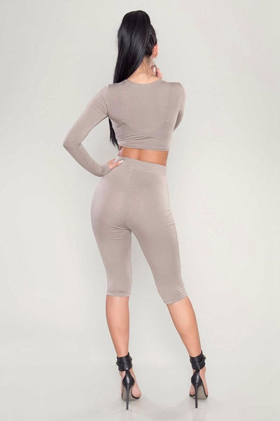 2 Piece Set Women Sexy Long Sleeve Top+Biker Shorts Track Suit Bodycon - More color option available