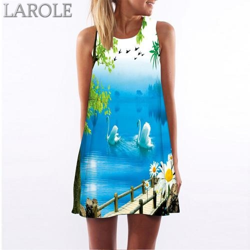 Women Summer Floral Print Chiffon Dress