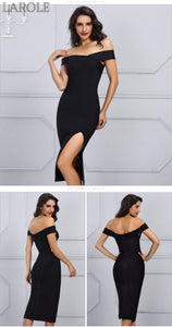 Black Sexy Off Shoulder Bodycon Dress with leg slip- More Colors Available