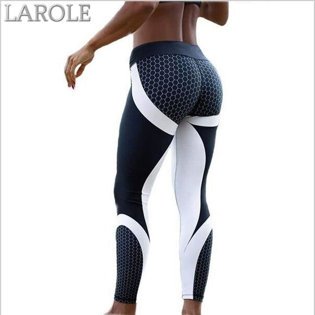 Mesh Pattern Print Elastic fitness Leggings For Women Sporting Workout And Yoga- Green