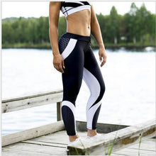 Load image into Gallery viewer, Mesh Pattern Print Elastic fitness Leggings For Women Sporting Workout And Yoga- Blue
