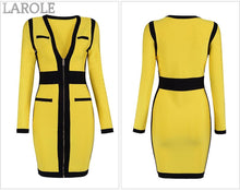 Load image into Gallery viewer, Yellow & Black V Neck Long Sleeve Celebrity Evening Party Dress