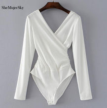 Load image into Gallery viewer, Long Sleeve  Backless White Bodysuit - More Colors Are Available