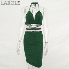Load image into Gallery viewer, Sibybo Sexy Sparkly Bandage Bodycon Two Set Features  Halter Deep V Neck , Lace Up Crop Top and Midi Skirt-  More Colors Available