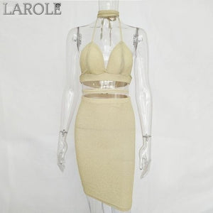 Sibybo Sexy Sparkly Bandage Bodycon Two Set Features  Halter Deep V Neck , Lace Up Crop Top and Midi Skirt-  More Colors Available