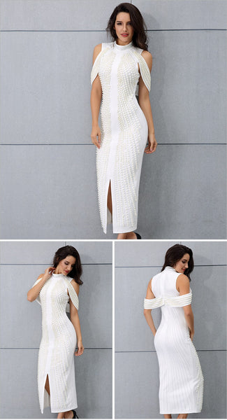 Sleeveless Beaded Turtleneck Sexy Back Splitting Midi Dress - Available in more colors