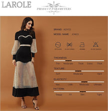 Load image into Gallery viewer, New Luxury  Black and Gold Maxi Gown with Long Sleeves, Lace Hollow Out Mesh