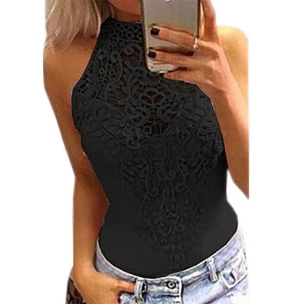 Sleeveless Patchwork  Bodysuit - More Colors Are Available