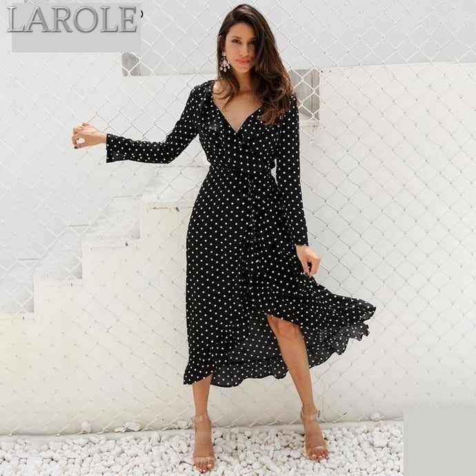 Simplee Long Sleeves Polka dot ruffle wrap Maxi dress With Split  - More Colors Are Available
