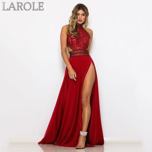 GACVGA Backless Sexy Women  Maxi Dress, Sleeveless , Halter Neck Lace- More Colors Available