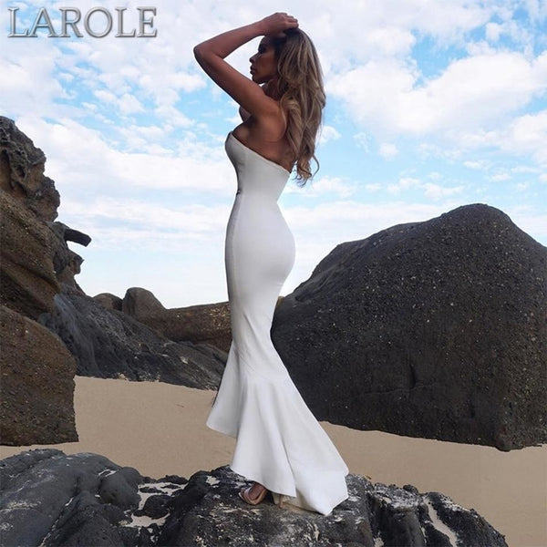 White Strapless Mermaid  Evening Midi Cocktail Dress