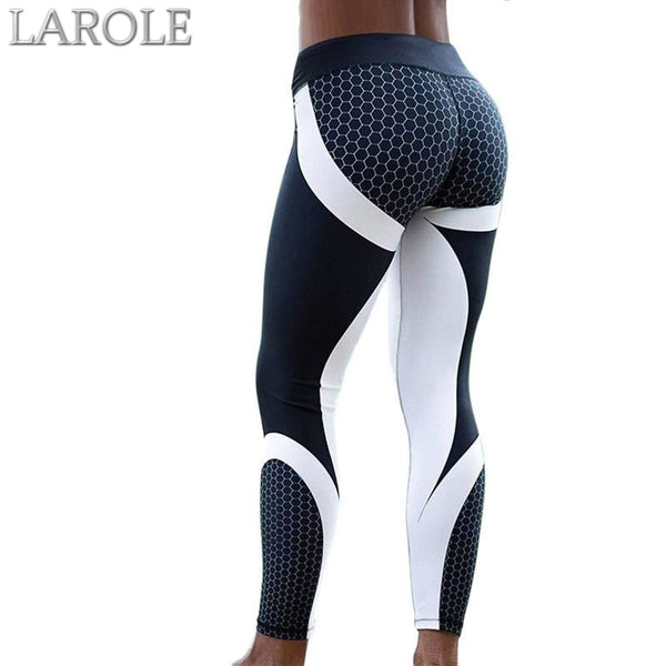 Mesh Pattern Print Elastic fitness Leggings For Women Sporting Workout And Yoga- Black