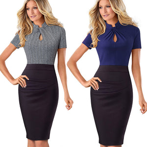 Nice-forever Vintage Contrast Color Patchwork Office Dress - More Colors Are Available