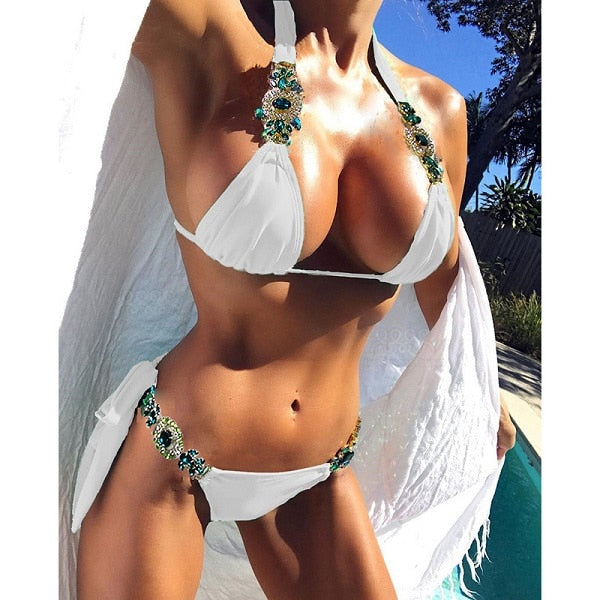Rhinestone crystal women Push Up White  bikinis - More options available