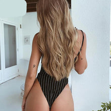 Load image into Gallery viewer, Spaghetti straps stripe slash neck backless sexy bodycon bodysuit