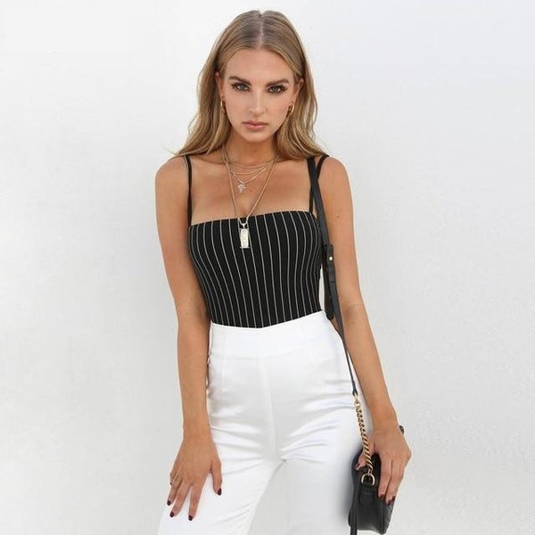Spaghetti straps stripe slash neck backless sexy bodycon bodysuit
