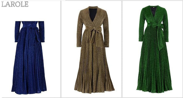 Pleated Long Sleeve Deep V Neck Sashes Mesh Floor Length Maxi Dress  - More Colors Available