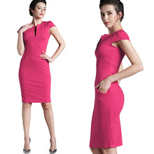 Load image into Gallery viewer, Nice-forever Vintage  Solid Deep V neck Stretch Pencil Office Dress - More Colors Are Available