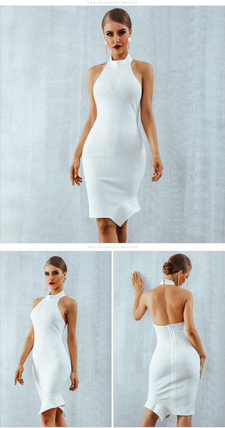Sexy Halter Sleeveless Backless Bodycon White Bandage Evening Party Dress