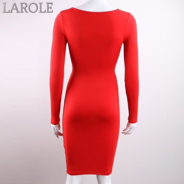 Long Sleeve Elastic Cotton Warm Blue Party Bodycon Dresses- More color option
