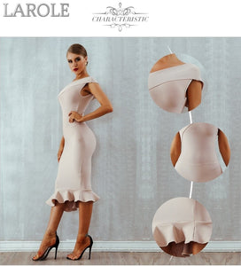 One Shoulder Sleeveless Ruffles Beige Midi Evening Party Bandage Dress - More Colors Available