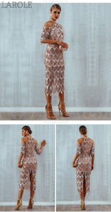 Elegant Sequins Evening Midi Party Dress - More Colors Available