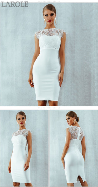 Elegant Midi Bodycon White Dress  - Available in Black & White