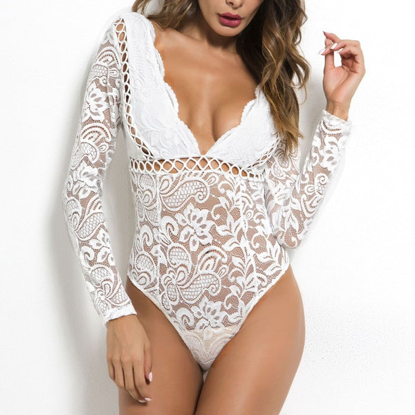 Cryptographic Hot mesh lace long sleeve deep v White bodysuits- More Colors Are Available