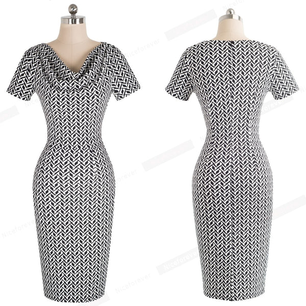 Nice-forever Vintage Sheath  Office Ruffle Midi Dress - More Colors Are Available