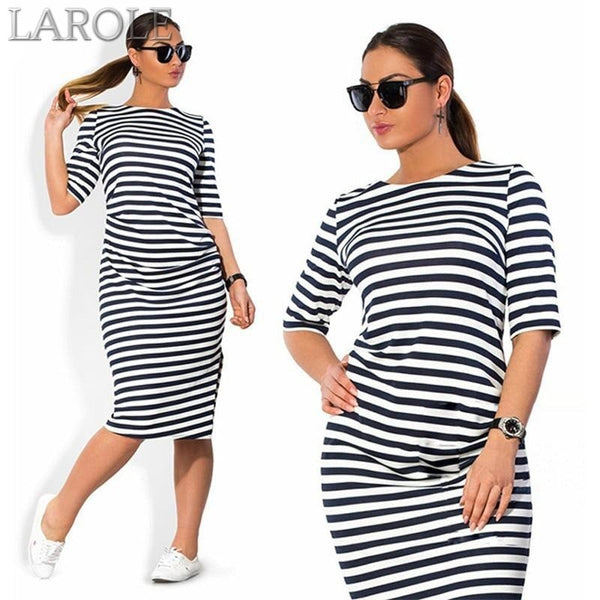 White Black Striped Dresses Plus Size