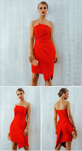 Sleeveless Strapless Elegant Red Bandage Dress- Available in More color