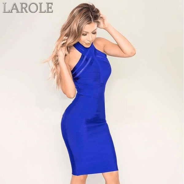 Halter Neck Blue Bodycon Bandage Cocktail Midi Dress