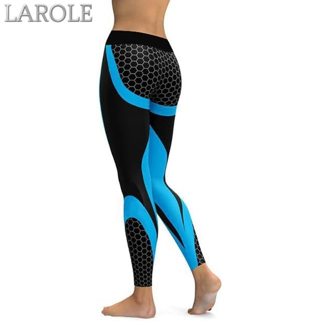 Mesh Pattern Print Elastic fitness Leggings For Women Sporting Workout And Yoga- Blue