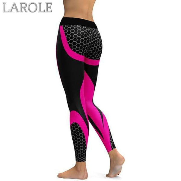 Mesh Pattern Print Elastic fitness Leggings For Women Sporting Workout And Yoga-Rose Red