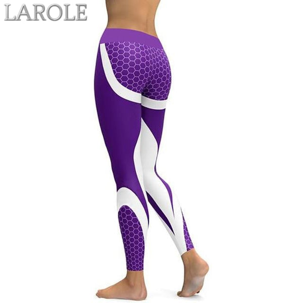 Mesh Pattern Print Elastic fitness Leggings For Women Sporting Workout And Yoga- Purple