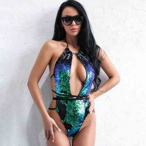 Women Sexy One-piece Suit Swimsuit Gold Sequin Lace Up Monokini Bathing Hollow Bikini Bodysuit