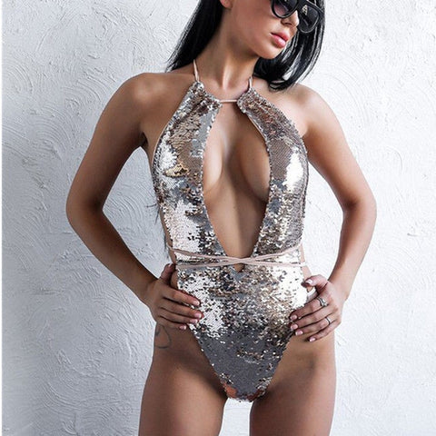 Women Sexy One-piece Suit Swimsuit Silver Sequin Lace Up Monokini Bathing Hollow Bikini Bodysuit