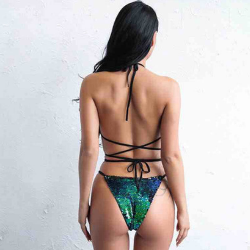 Women Sexy One-piece Suit Swimsuit Green Sequin Lace Up Monokini Bathing Hollow Bikini Bodysuit