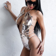 Load image into Gallery viewer, Women Sexy One-piece Suit Swimsuit Silver Sequin Lace Up Monokini Bathing Hollow Bikini Bodysuit